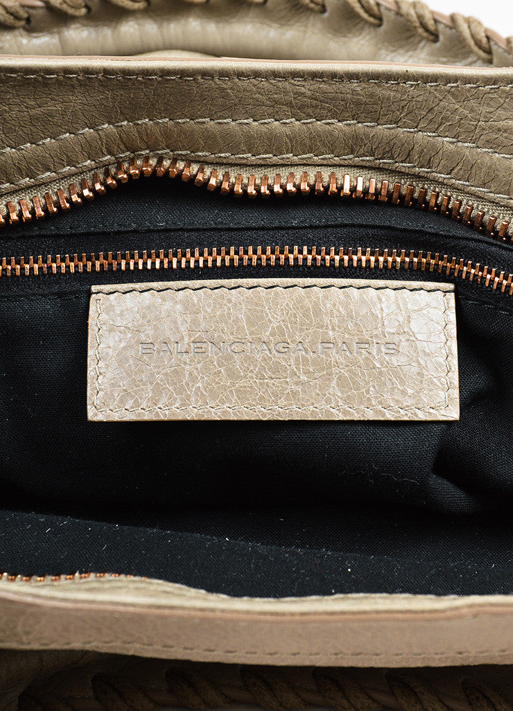 "Balenciaga ""Papyrus"" Taupe Rose Gold Toned Leather ""Giant 21 City"" Bag brand"