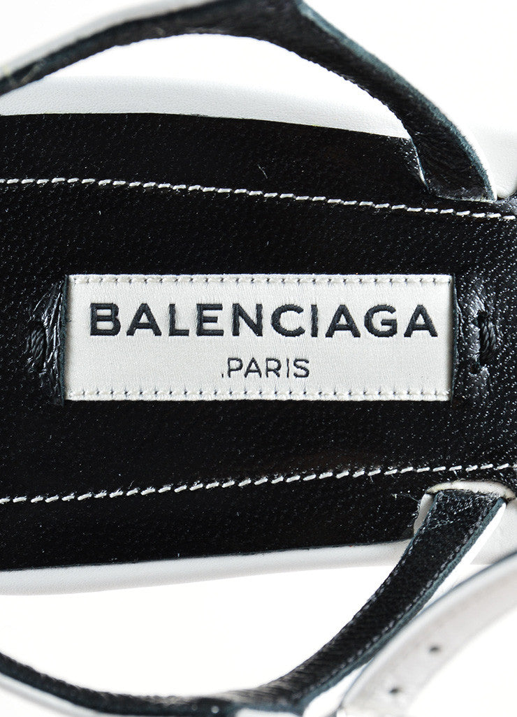 White and Silver Balenciaga Leather Strappy Buckle Maillon Sandals Brand