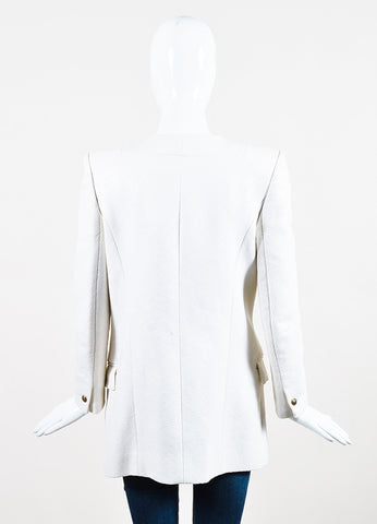 Balmain Cream Woven Coated Tuxedo Lapel Open Front Blazer Jacket Backview