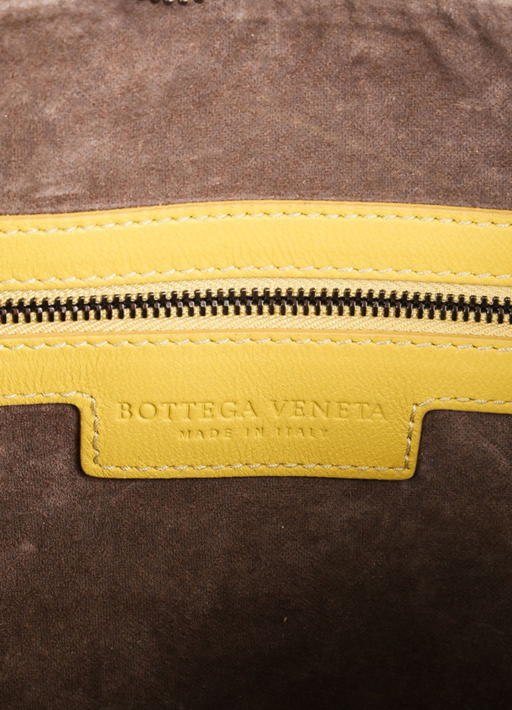 Bottega Veneta Yellow Leather Woven Hobo Shoulder Bag Brand