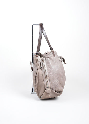 Grey Brunello Cucinelli Leather Expandable Tote Bag Sideview