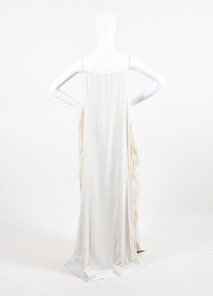 Brunello Cucinelli White Silk Ostrich Feather Gown Backview