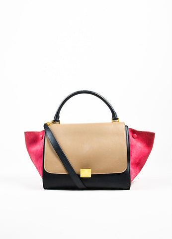 "Celine Red, Black, and Tan Suede Leather Tri Color Block ""Medium Trapeze"" Bag Frontview"