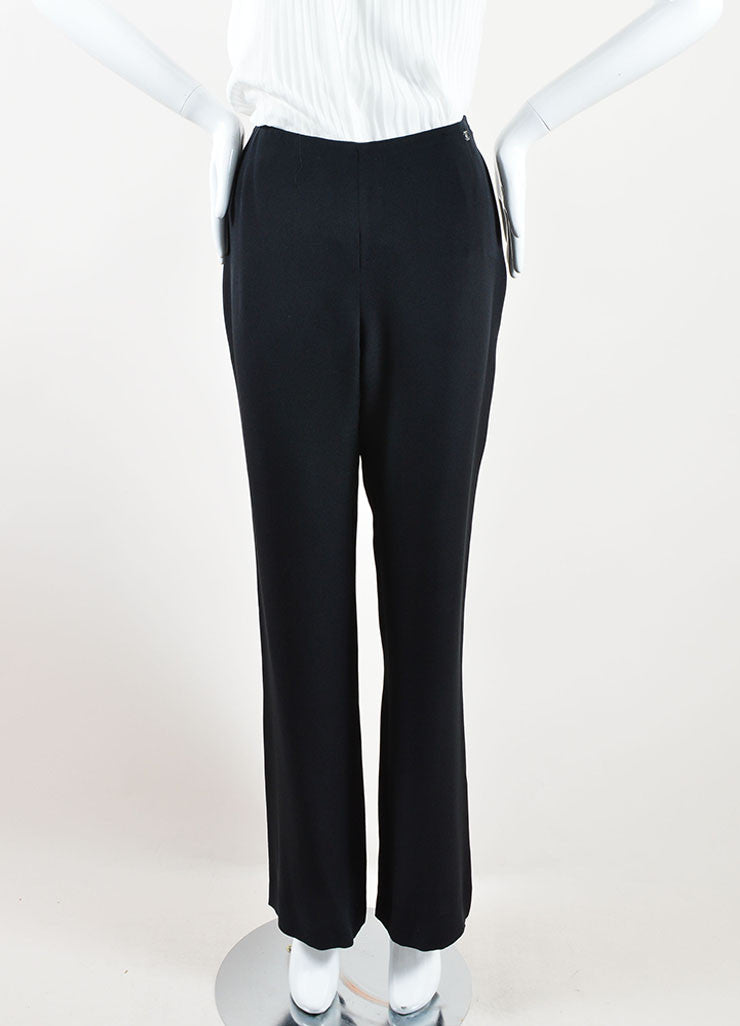 Chanel Black Silk Wide Leg Trouser Pants Frontview