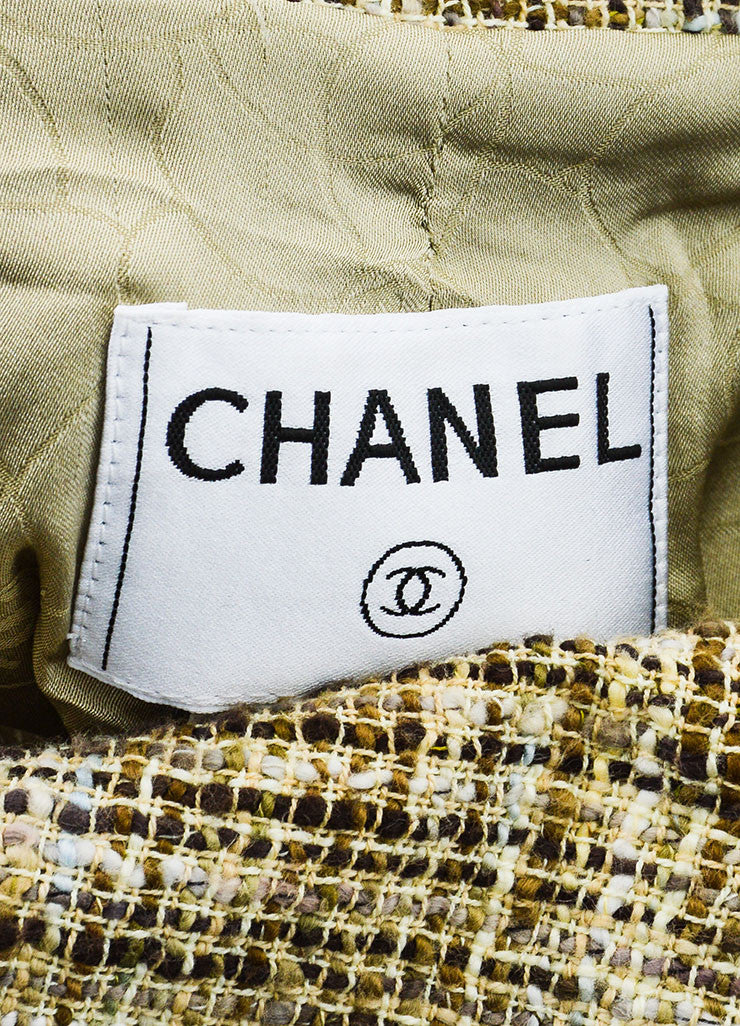 Beige and Brown Chanel Cotton Tweed Fitted Jacket Brand