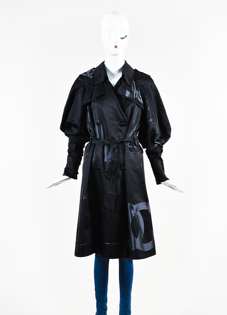 Chanel Black Silk Airbrushed 'CC' Skyline Double Breasted Trench Coat Frontview