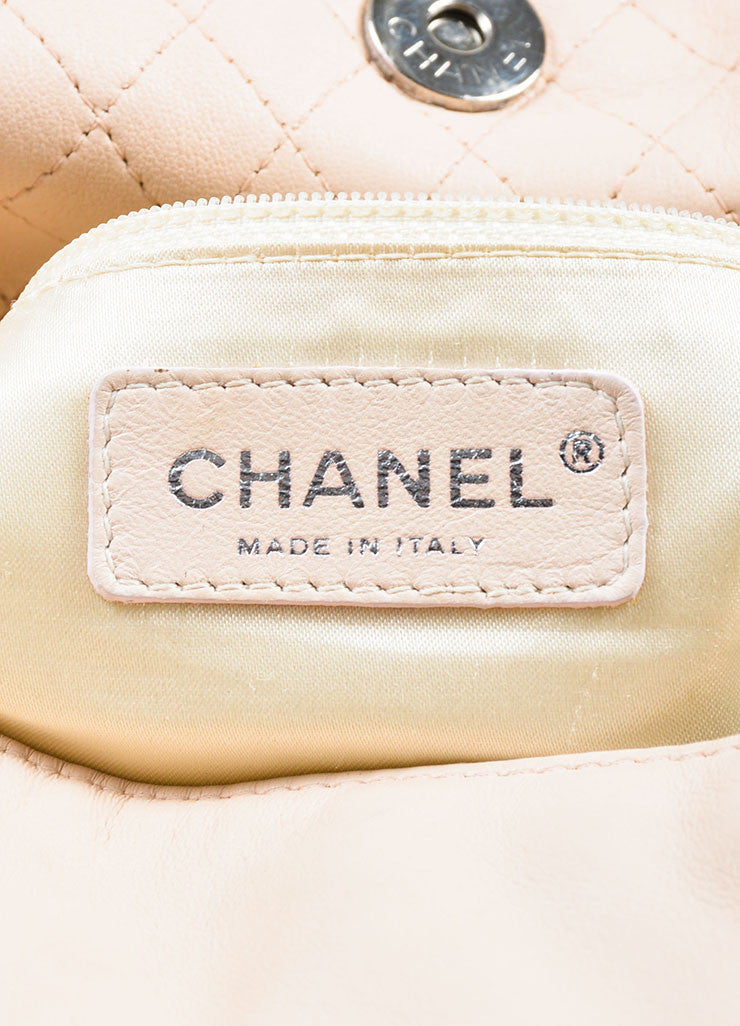 "Chanel ""Beige"" Cream Lambskin Leather Chain Handle 'CC' Stitch Hobo Bag Brand"