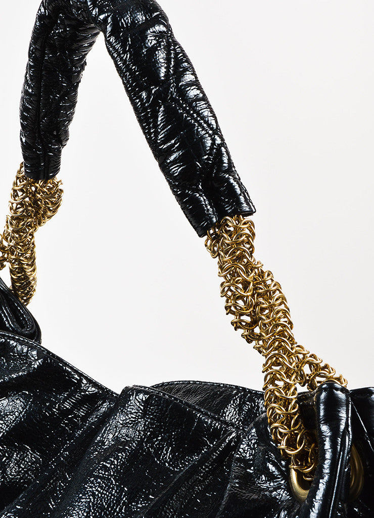 "Chanel Black Patent Crinkle Leather Gold Toned Chain ""Rodeo Drive"" Tote Bag  Detail 2"