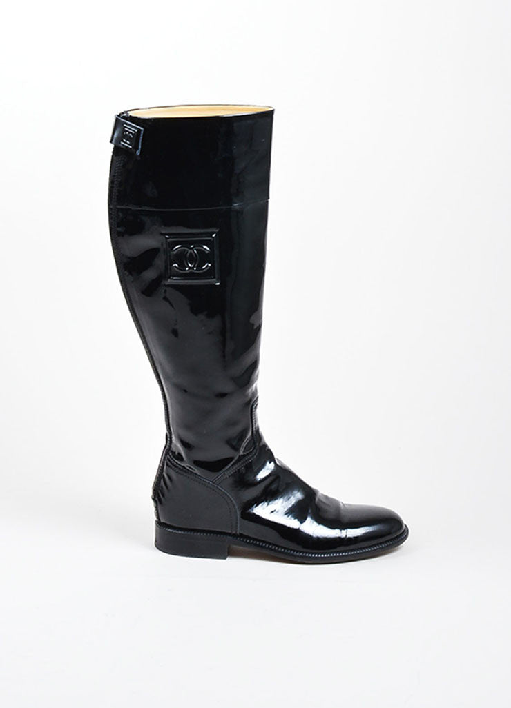 Black Chanel Patent Leather 'CC' Logo Tall Riding Boots Sideview
