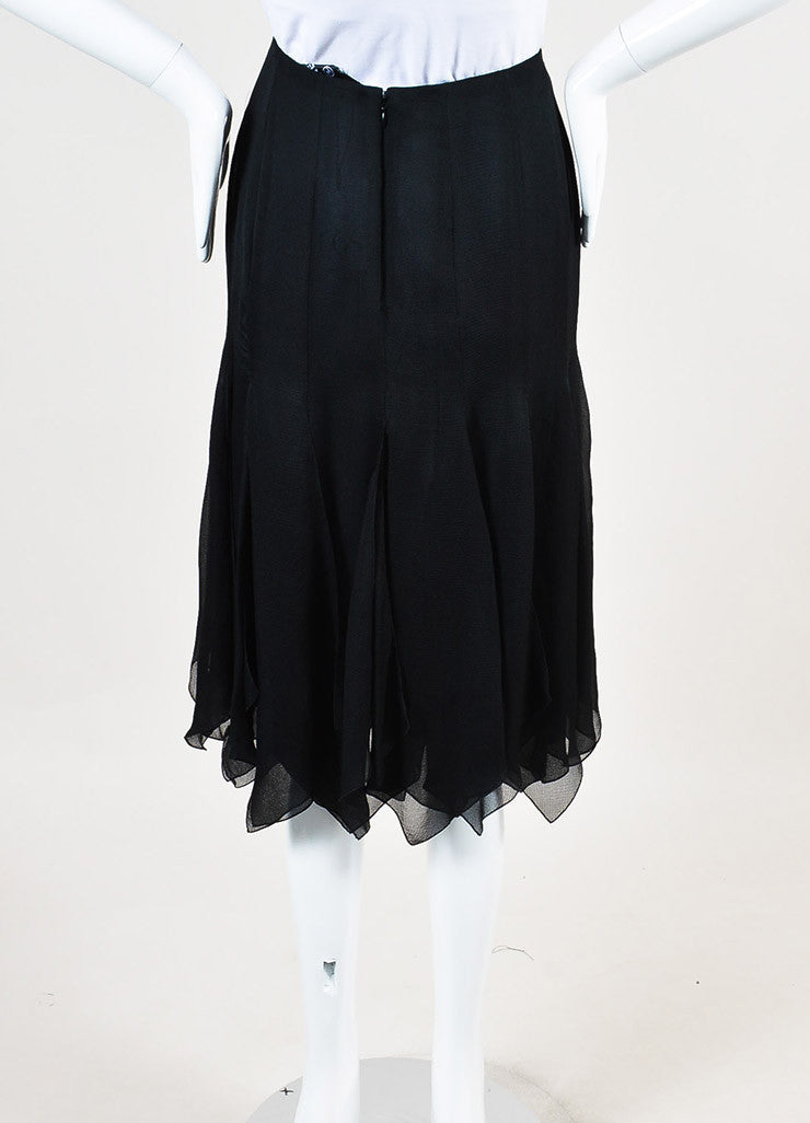 Chanel Black Silk Chiffon Zig Zag Pointed Hem Multi Slit Midi Skirt backview