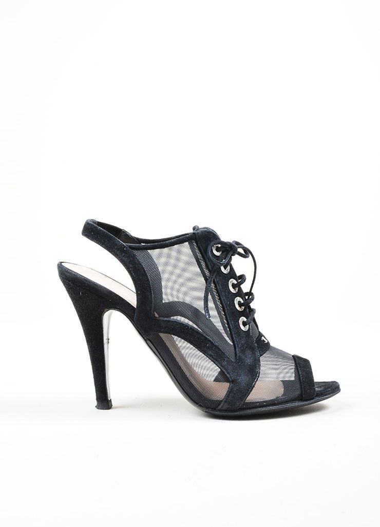 Black Chanel Suede Mesh Lace Up Peep Toe Slingback Sandal Booties Sideview