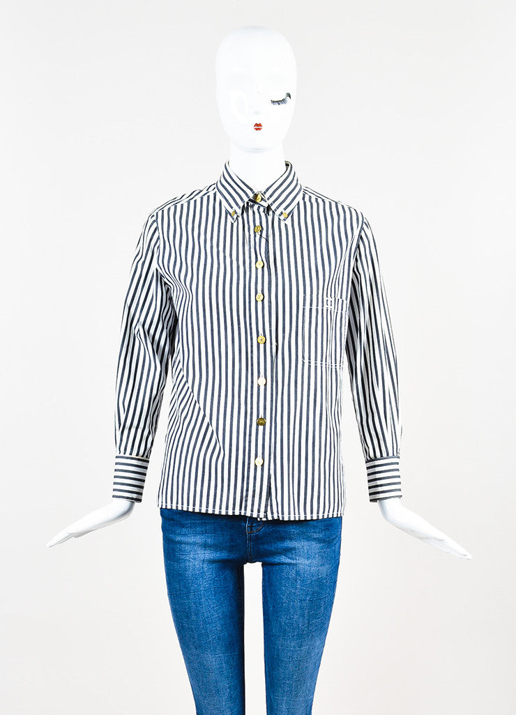 Chanel Black and White Striped Gold Toned 'CC' Button Down Shirt Frontview