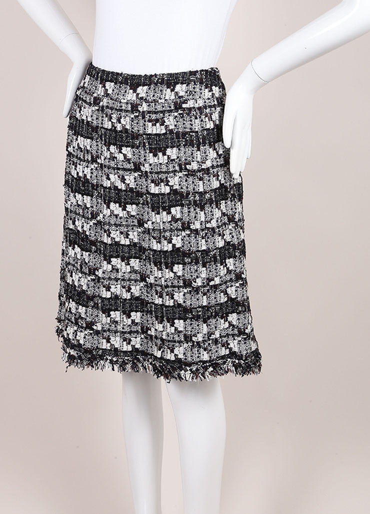 Chanel Chanel Black And White Woven Tweed Knit Metallic Fringe Trim A Line Skirt Sideview
