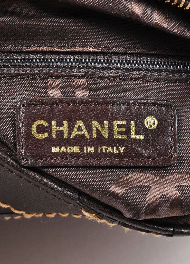 "Chanel Brown Leather Stitched ""CC"" Shoulder Bag Brand"