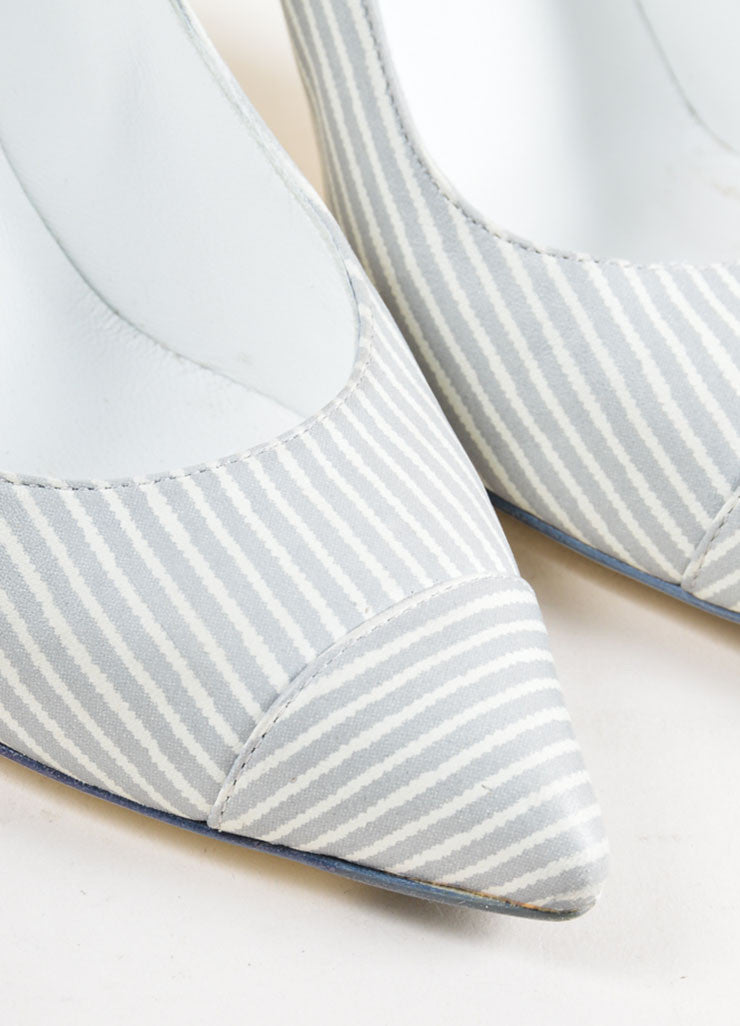 Grey and White Chanel Leather Pinstripe Pointed Cap Toe Heels Detail