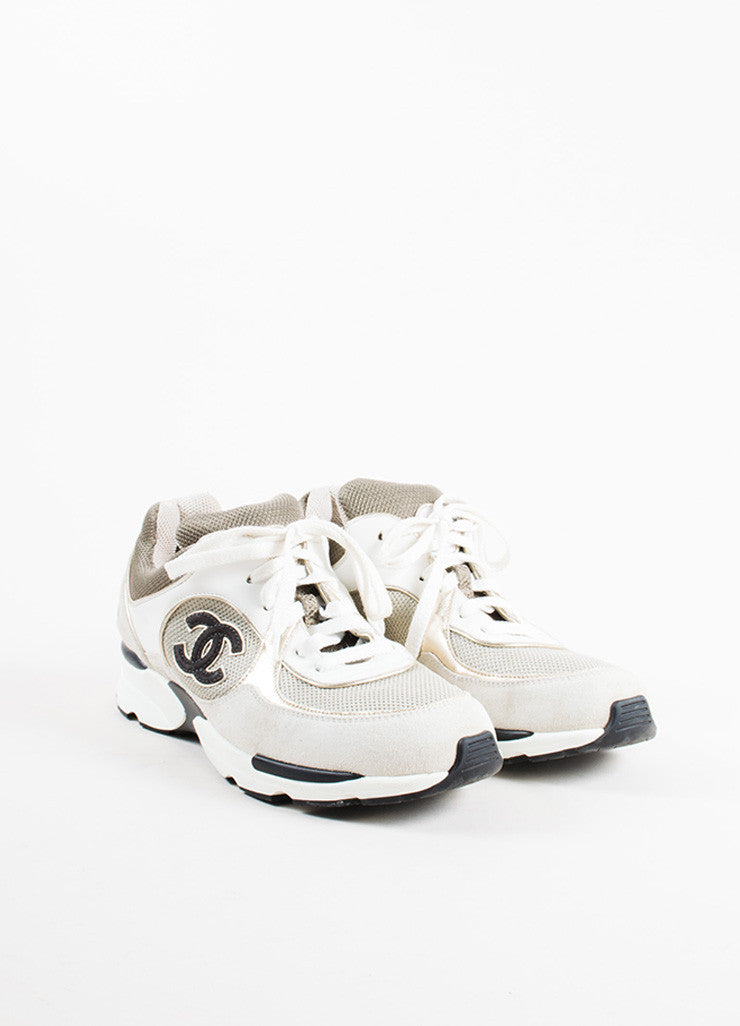 "Chanel Grey, White, and Metallic Gold Leather Suede ""CC"" Sneakers Frontview"