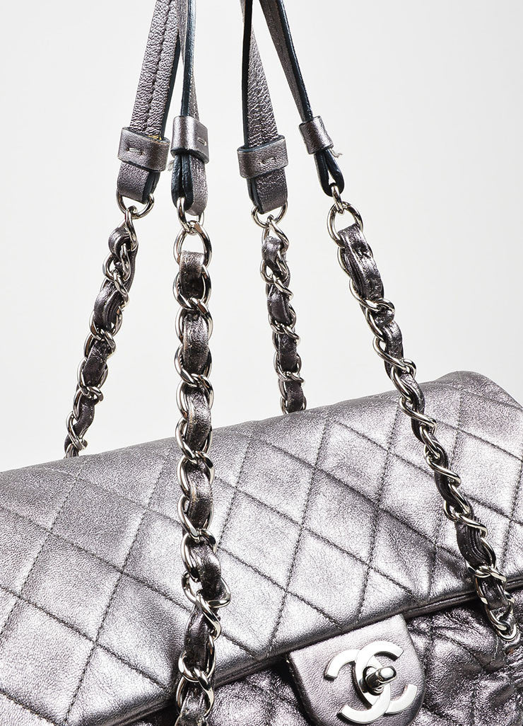 "Metallic Silver Leather Quilted Chanel ""Sharpei"" Flap Shoulder Bag Detail 2"