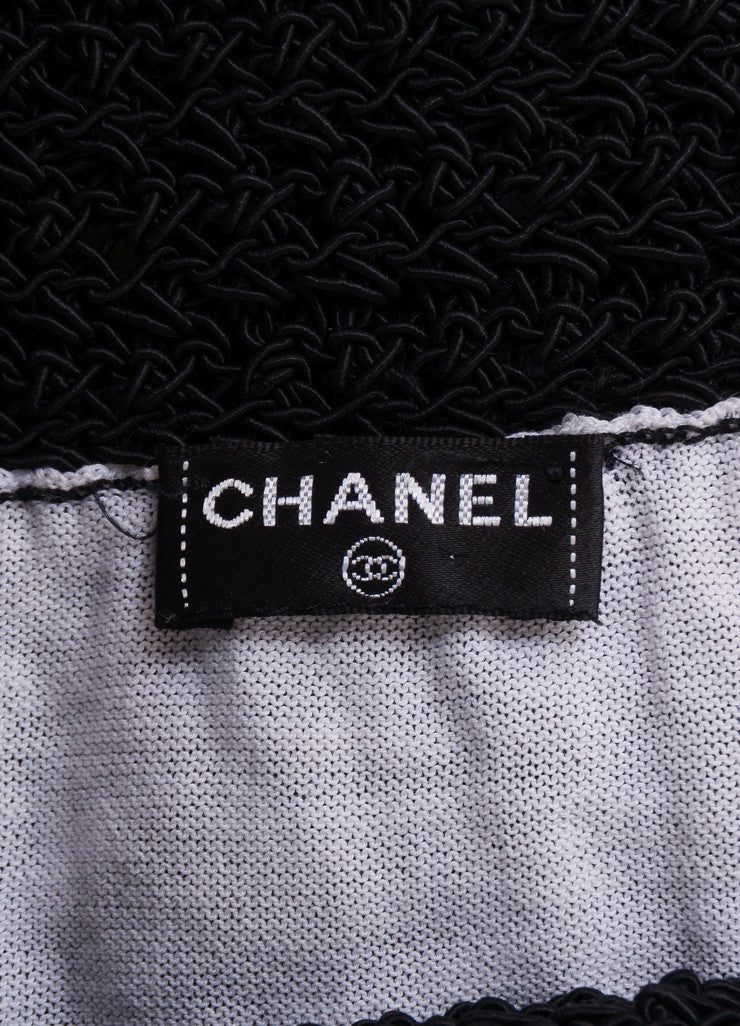 Chanel Black and White Woven Ribbon Crochet Knit Pencil Skirt Brand