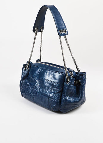"Chanel Navy Blue Quilted Leather ""LAX Camera Case"" Chain Link Bag Back"