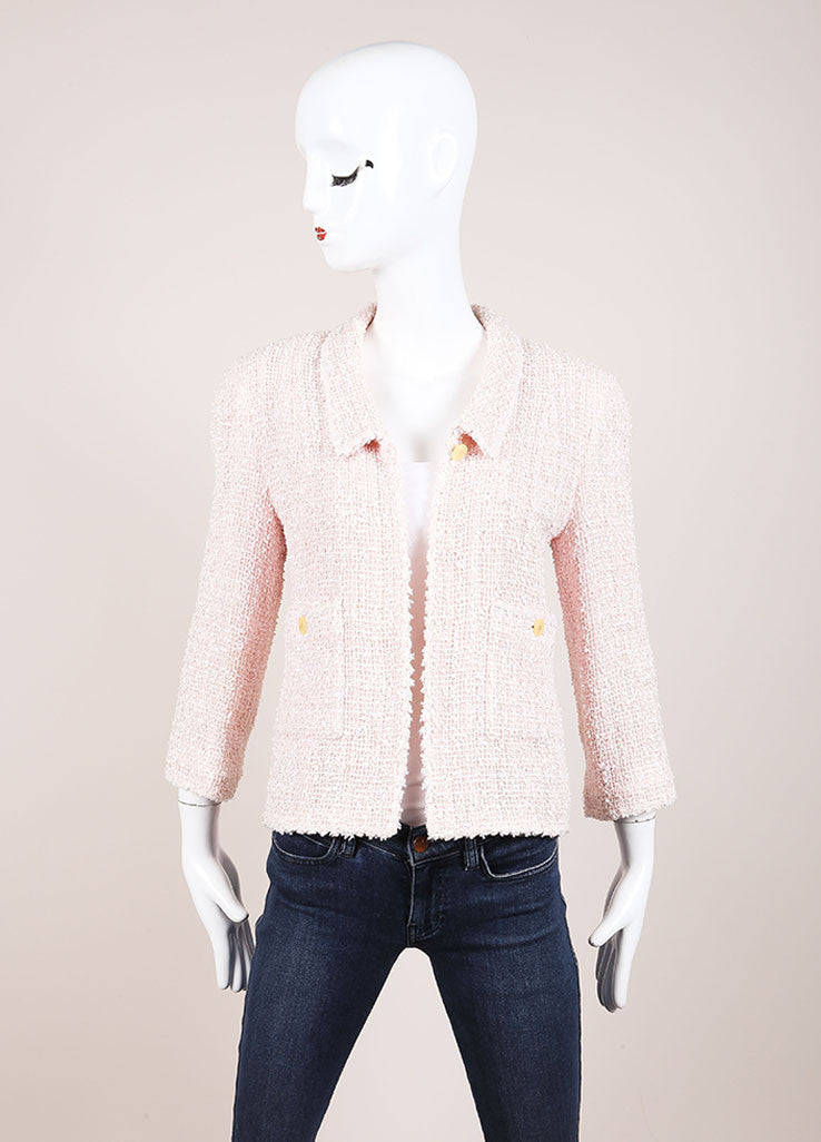 Chanel Pink and Cream Tweed Boucle Cotton and Wool Blend Single Button Jacket Frontview