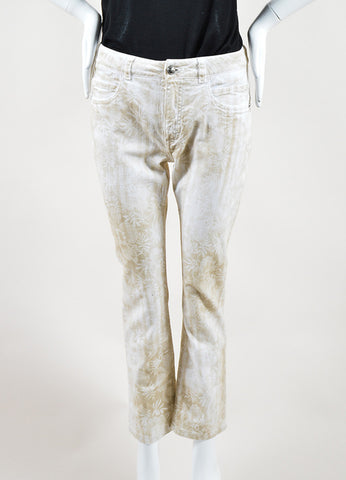 Chanel White and Beige Cotton Tropical Print Straight Leg Cropped Jeans Frontview
