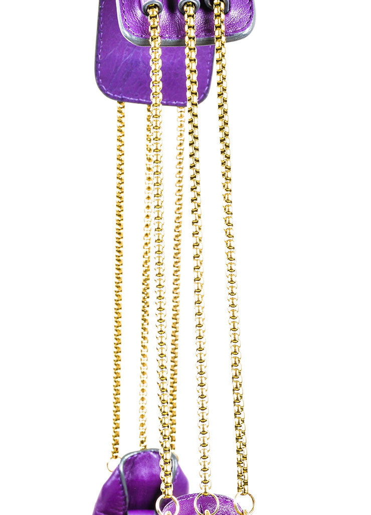 "Chloe ""Triple Chain Milton"" Purple Leather Hobo Shoulder Bag Detail 2"