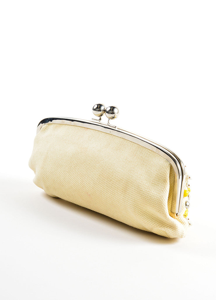 Chloe Cream, Yellow, and Silver Toned Canvas Beaded Kiss Lock Frame Clutch Bag Sideview