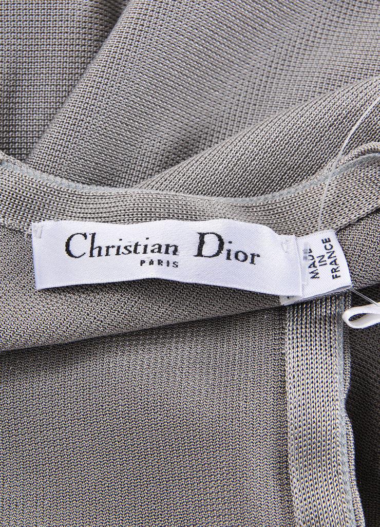 Christian Dior Grey Silky Knit Pleated Maxi Dress Brand