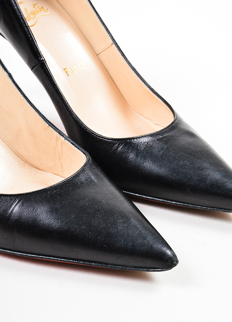 "Black Christian Louboutin Leather ""New Hai 85MM"" Pointed Toe Pumps Detail"