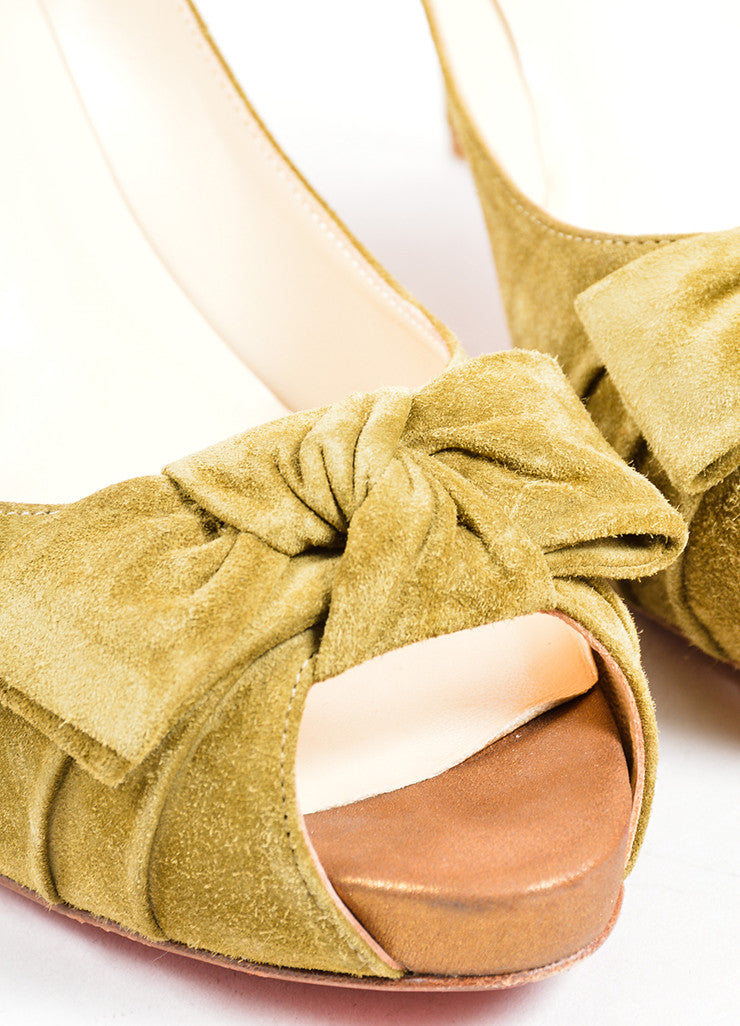 Christian Louboutin Light Olive Green Suede Peep Toe Bow Pumps Detail