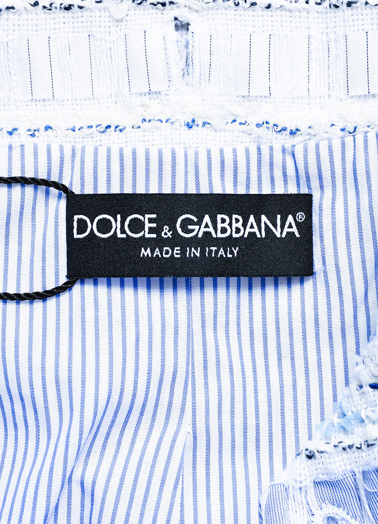 Dolce & Gabbana Blue and White Poplin Removable Tweed Long Sleeve Shirt Jacket Brand