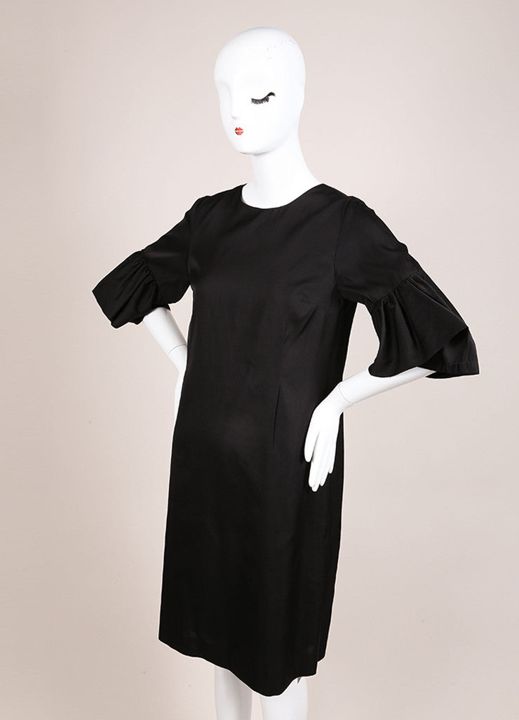 Dries Van Noten Black Satin Ruffle Trim Crop Sleeve Shift Dress Sideview