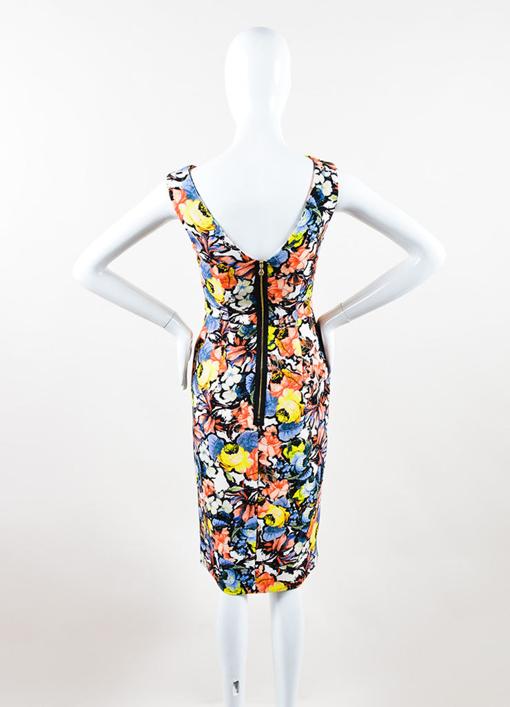 "Multicolor Floral Jardim Print ""Mariko"" Cowl Neck Dress Back"