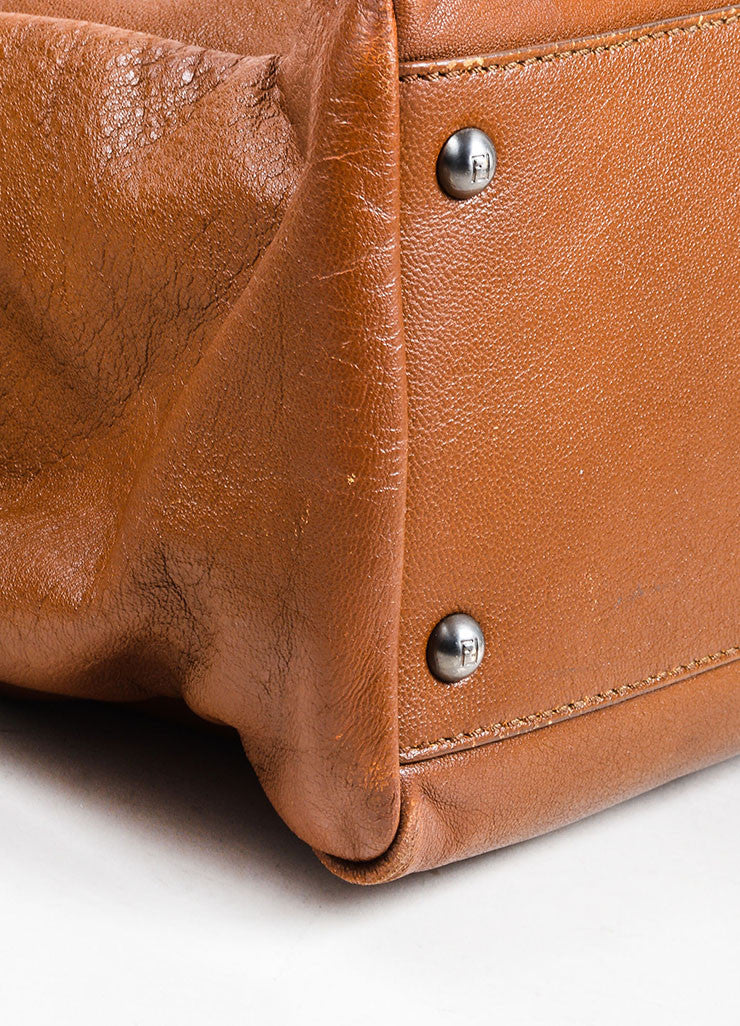 "Fendi ""Peekaboo"" Brown Leather Satchel Bag Detail"