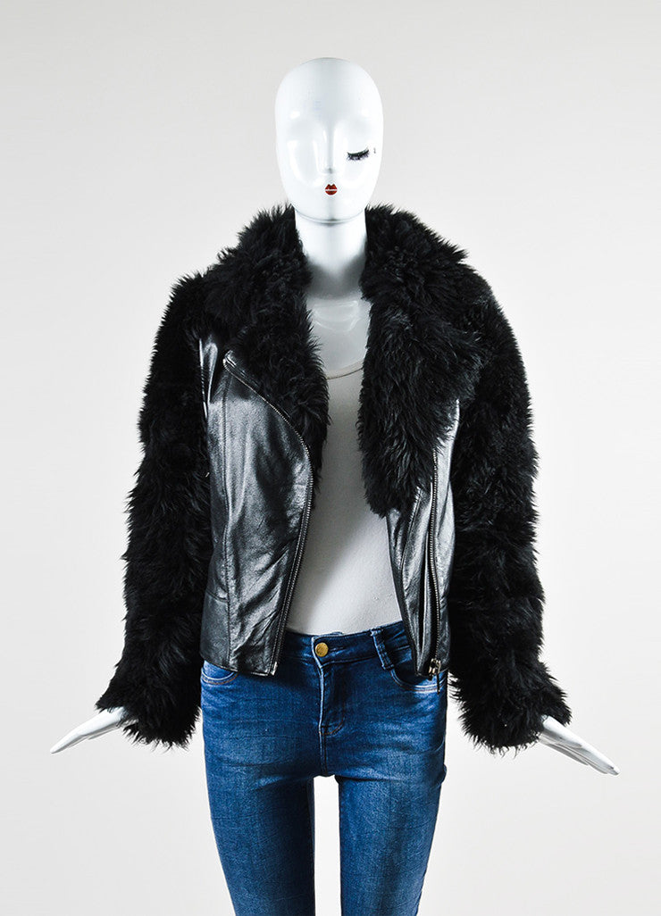 Black Gareth Pugh Leather and Shearling Fur Sleeves Jacket Frontview