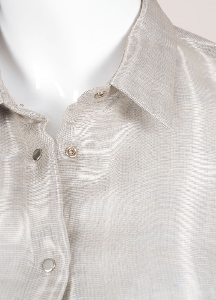 Giorgio Armani Silver Silk and Linen Cropped Button Up Blouse Detail