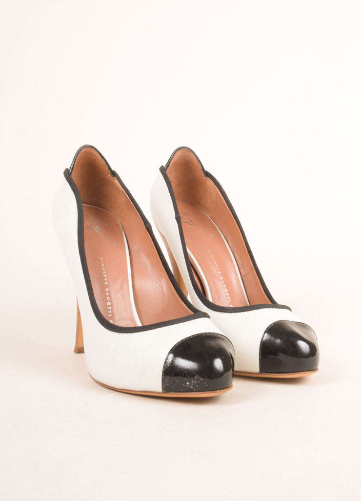 Giuseppe Zanotti White and Black Leather Cap Toe Platform Pumps Frontview