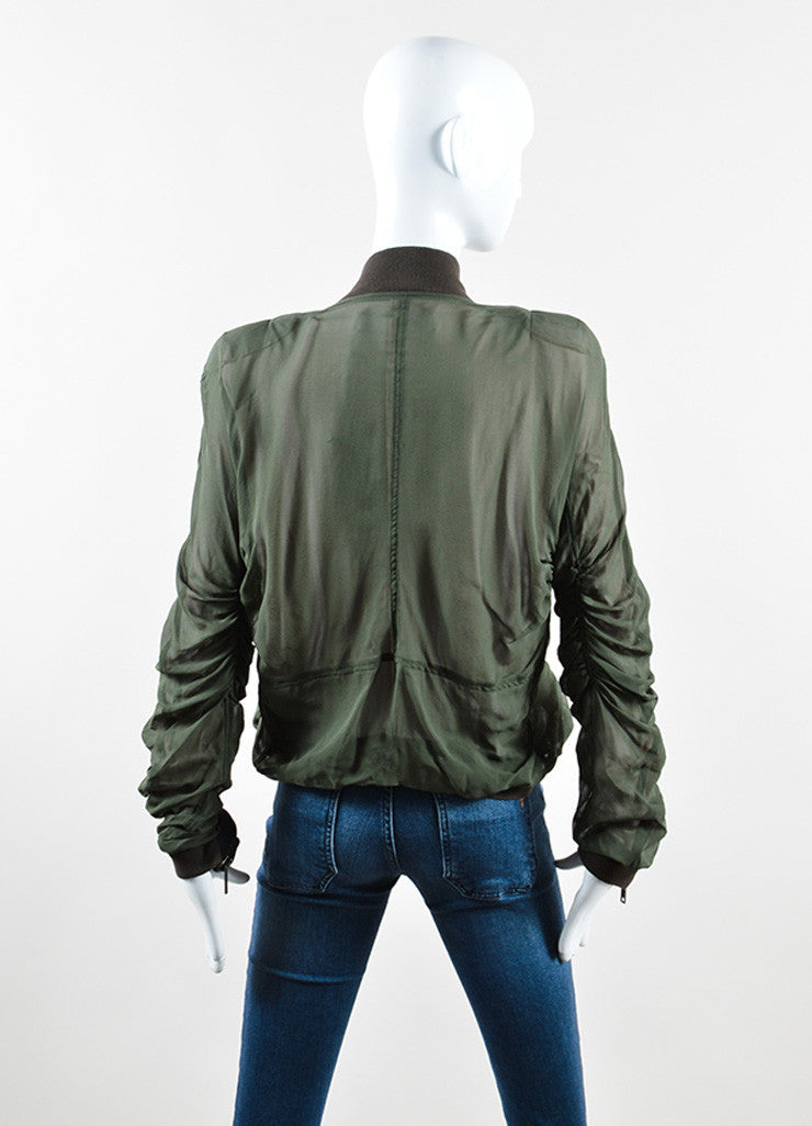 Haider Ackermann Green Silk Sheer Overlay Ruched Bomber Jacket Backview