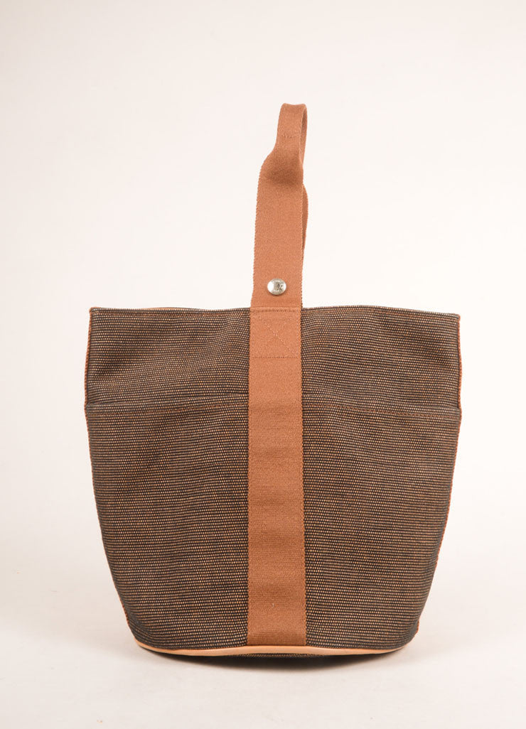 Hermes Brown and Black Woven Bucket Bag Frontview