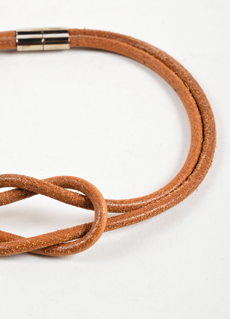 Hermes Brown Leather Double Strand Knot Choker Necklace Detail