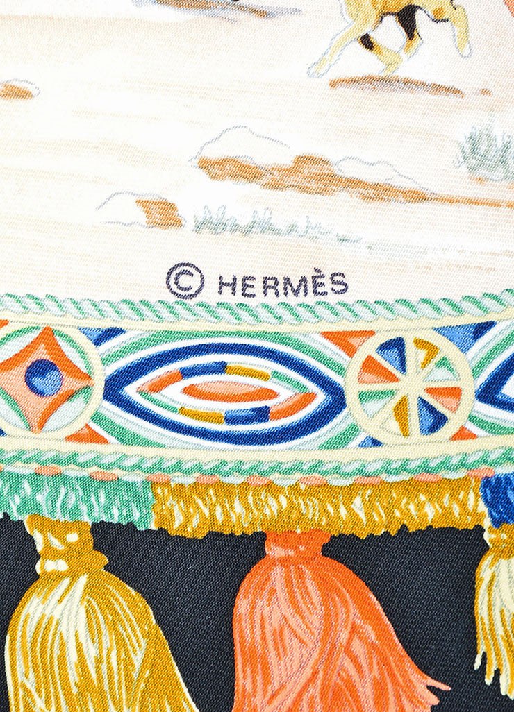 "Multicolor Hermes Silk Twill Graphic Print ""Cavaliers Peuls"" 90cm Scarf Brand"