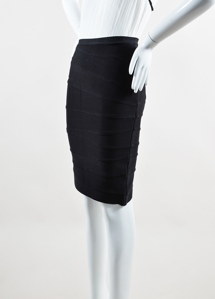 Herve Leger Black White Stripe Stretch Bandage Bodycon Short Pencil Skirt Sideview