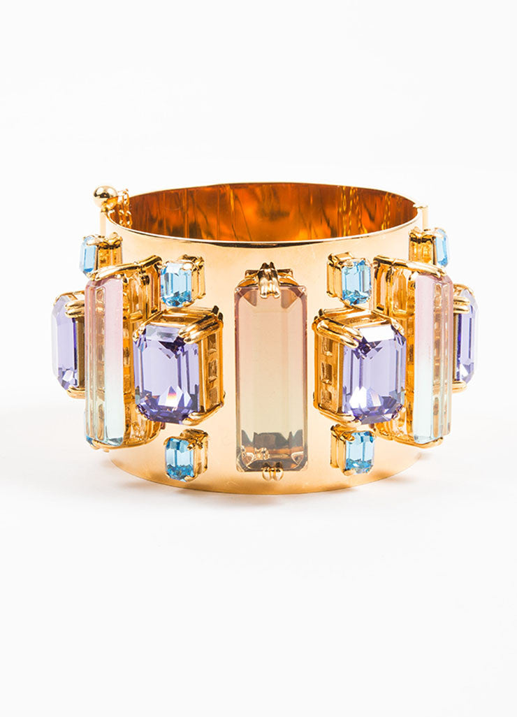 "Gold Toned, Purple, and Blue House of Lavande Swarovski Crystal ""Oceana"" Bracelet Frontview"