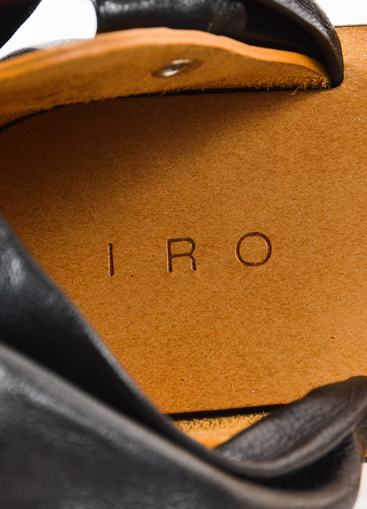 "IRO Black and Tan Leather Wrap Ankle Strap ""Megg"" Sandals Brand"