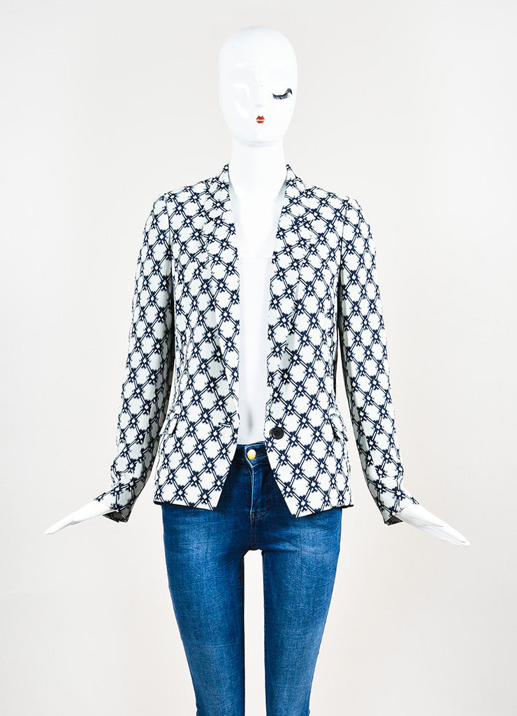 Isabel Marant White and Navy Blue Crepe Printed Blazer Jacket Frontview