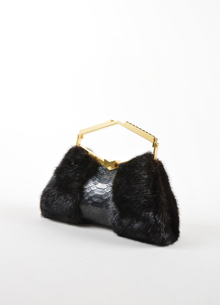 J. Mendel Black Python and MinkTop Handle Minaudiere Clutch Bag Sideview