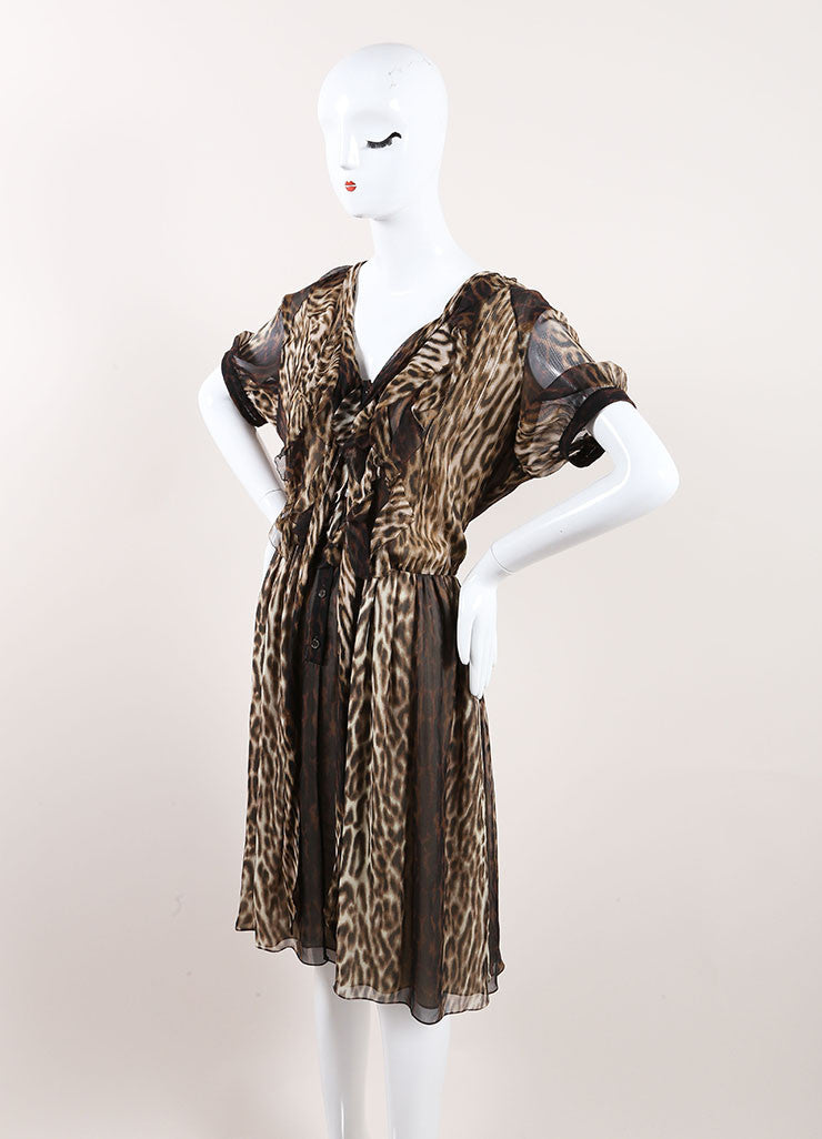 Jason Wu New With Tags Cream and Brown Silk Leopard Print Ruffle Pleated Dress Sideview