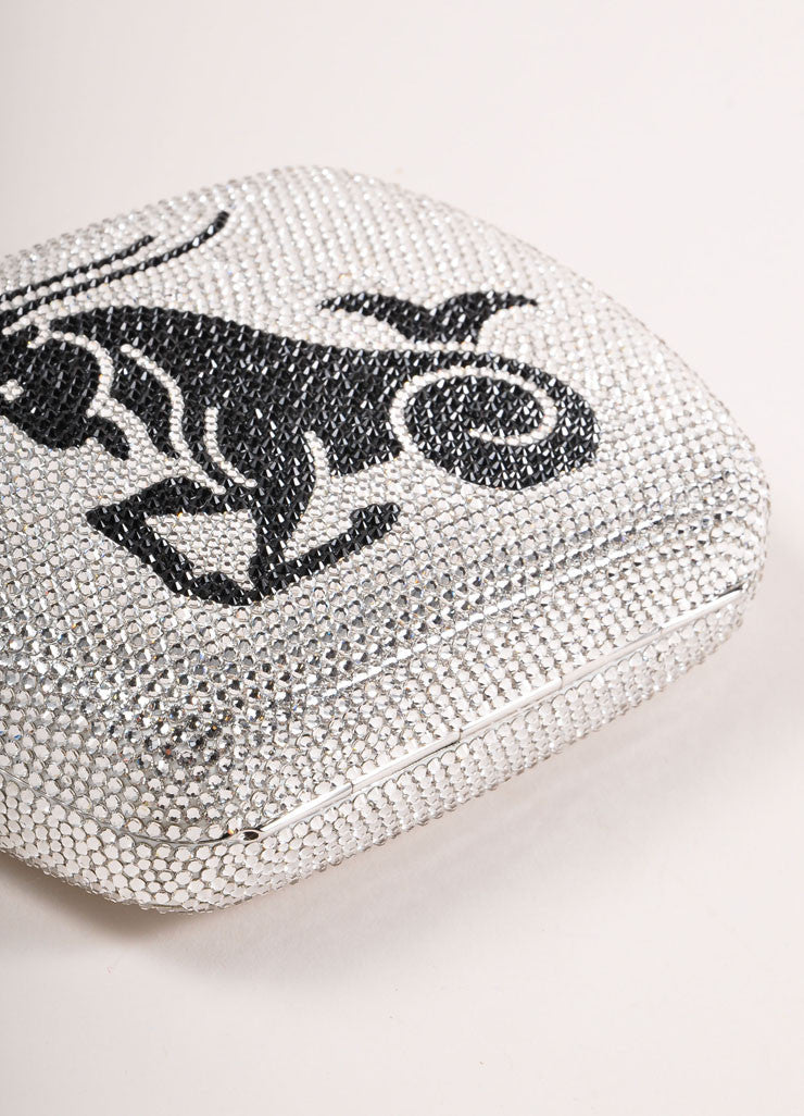 "Judith Leiber Silver and Black Rhinestone ""Capricorn"" Minaudiere Clutch Bag Bottom View"