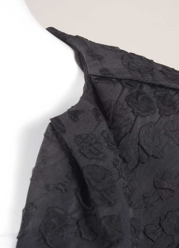 Lanvin Black Silk Textured Cropped Shrug Detail