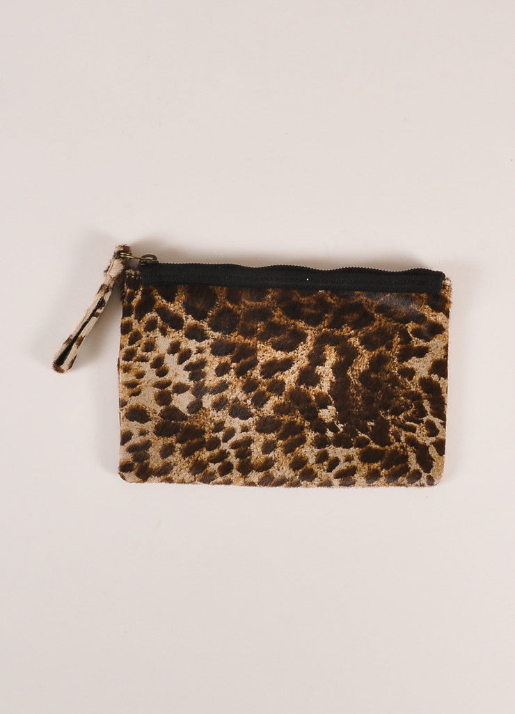 Lanvin Brown and Black Leopard Print Ponyhair Flat Zip Clutch Bag Frontview